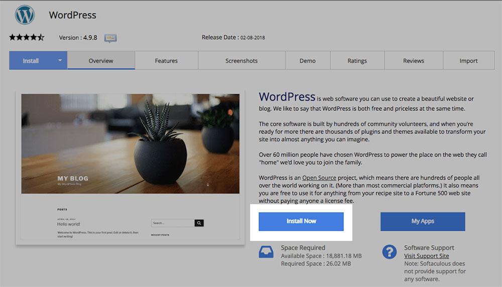 Website builder - Install Wordpress