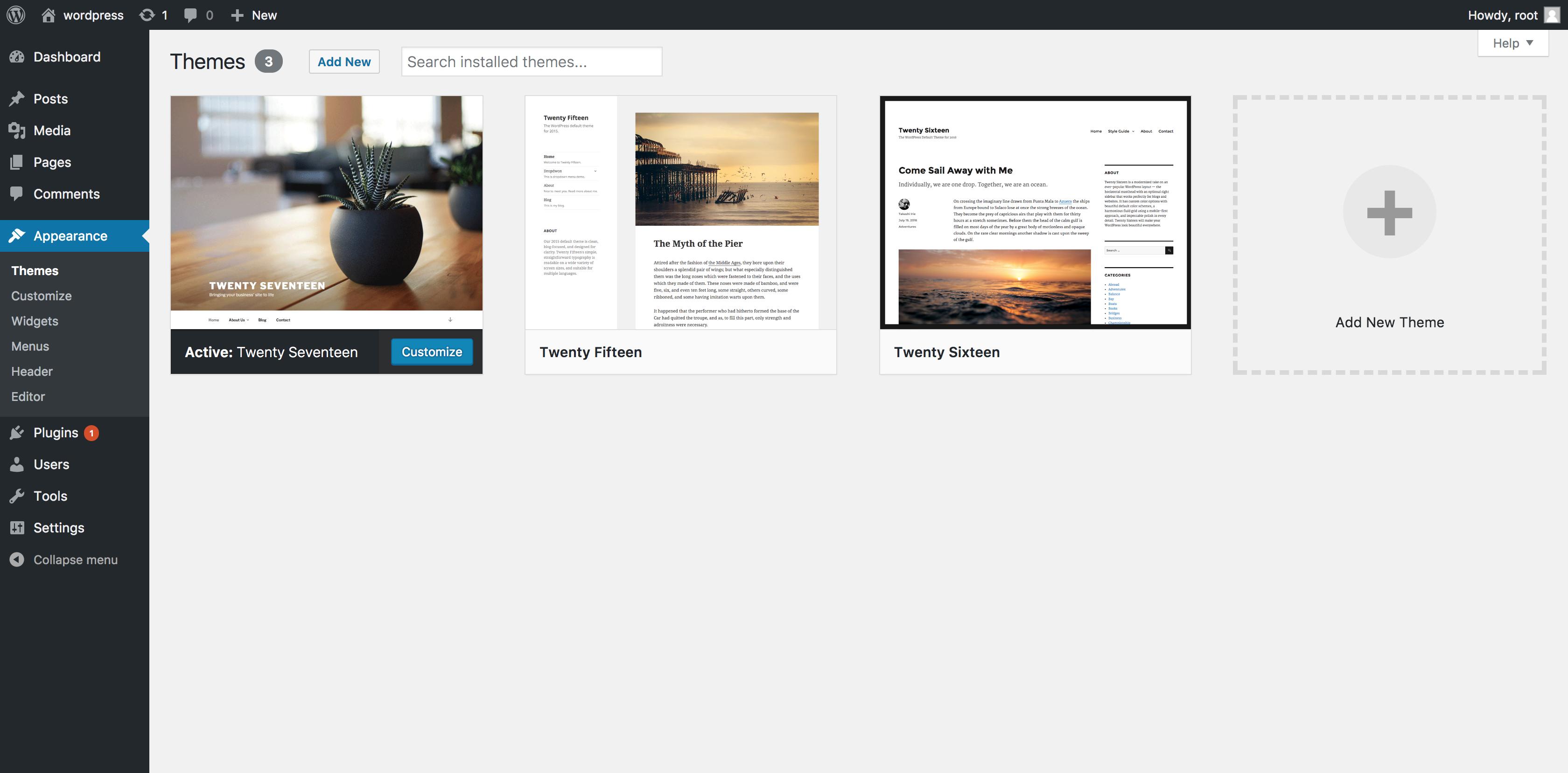create database for wordpress site