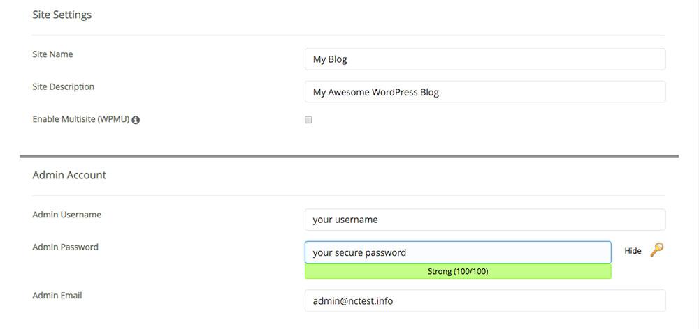 WordPress - Site Settings and Admin Details